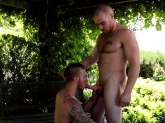 Outdoors Assfucked Hunk Covered In Milky Cum