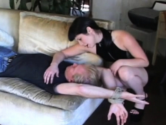 cutie ties up her stud and smothers him with her great butt