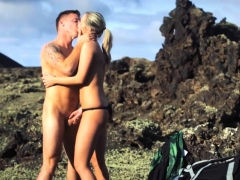 Mountain climbing combined with outdoor quickie fucking