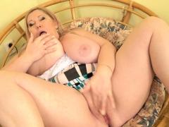 Euro BBW milf Dita nibbles on her huge tits