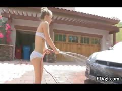 Very Cute Babe Madison Is Washing A Car Part1