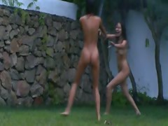 polish-chicks-watersports-in-the-garden
