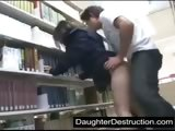 cute schoolgirl fucked by geek in lib...