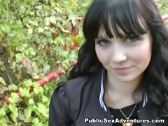 brunette-in-funny-panties-blows-cock-outdoors