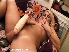 blonde with huge natural tits gaped by a brutal dildo