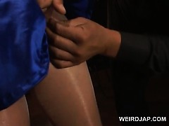 Asian Preggo In Ropes Cunt Teased In Torn Pantyhose