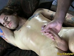 Straight Tattooed Guy Getting A Handjob