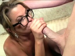 Petite Milf Beauty With Glasses Eager Blowjob
