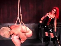 Bdsm Redhead Mistress Spanking Male Ass And Hard Balls