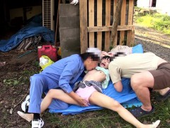 petite-asian-outdoors-getting-licked-in-threeway