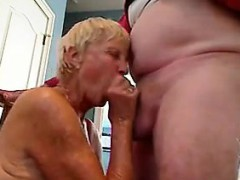 Blonde Granny Gives Her Husband A Blowjob