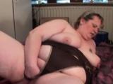Dick sucking mature BBW fists her big pussy