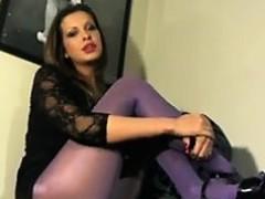 Hot Slut Smoking With Purple Pantyhose On