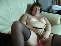 Horny granny masterbating