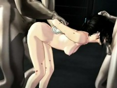 Pretty 3d Anime Babe Gets Double Nailed