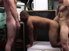 Gay Threesome With Black Amateur Dude Fucking For Cash
