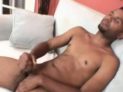 Ebony Dude Masturbates His Huge Cock On The Couch