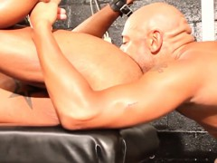 Ebony Hunk Flogged And Jizzed By Studs