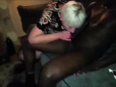 Mature Blondie Sucking On A Black Shaft