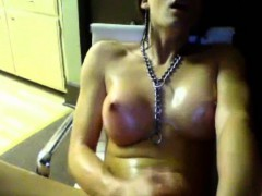 Horny Teenage Shemale Jerks Off To Orgam.