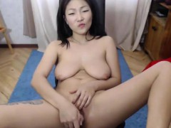 Sexy Big Tit Asian Milf Pussy Rubbing On Webcam