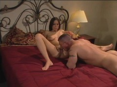 Sexy Milf With Big Hooters Has A Hung Guy Tasting And Fucking Her Slit
