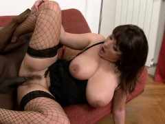 Bodacious Cougar In Sexy Lingerie Has A Black Bull Hammering Her Peach