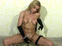 Bigtitted Blonde Shemale Gets Her Bigtits Messy And Jerks