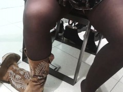 Trying On Some Boots With A Peak Between The Woman's Sexy L
