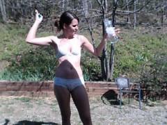 Skinny Brunette In Sunnies In White Lingerie Shows Off Her
