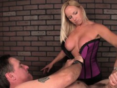 Busty Blonde Fucks BF with a Big Strapon