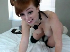 Redhead Girl Puts A Kitten Tail In The Ass