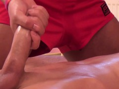 Aroused Massaged Twink Jerking His Cock