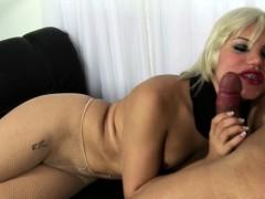 Blonde Tranny In Fishnet Stockings