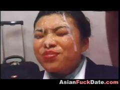 Nasty Japanese Girl Gets Group Facial