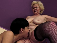 Lovely Teen Pussylicking Mature In Stockings