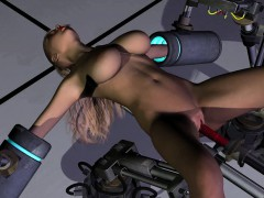 Busty Girl Fucked With A Device