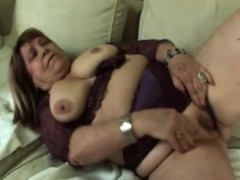 Sideways Pounding For Fat Blonde Granny On Couch