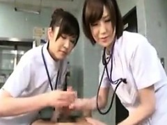 Two Nurses Grab Hold Of Their Patient's Cock And Give Him H