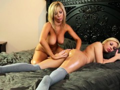 Lesbian Milf Massaging Dykes Booty With Oil