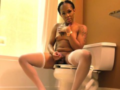 Ebony Tgirl Tugging Her Cock In The Bathroom