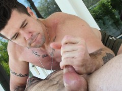 Hot Muscle Daddy Rubs And Oils Up Cute Jock Before Sliding