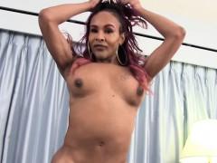 Curvy Black Trans Solo Wanking Her Meat Shaft
