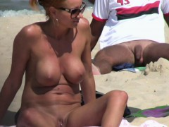 horny blonde milf amateur close-up twat beach voyeur video