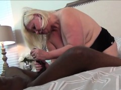 Granny Blows And Rides Huge Black Cock In Bedroom