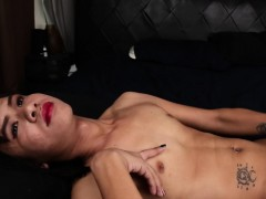 Tattooed Asian Trans Solo Wanking Hard Cock
