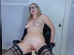 blonde-thealexalondon-with-sexy-glasses-riding-on-dildo