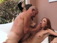 Pussyfucked Redhead Spreads Legs For Senior
