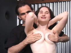 Messy Bitch With Freshly Bald Love Tunnel Gets Taped Peeing