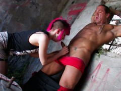 muscled hunk shows alt chick whos boss